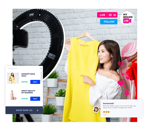 Lady using video commerce to increase fashion sales