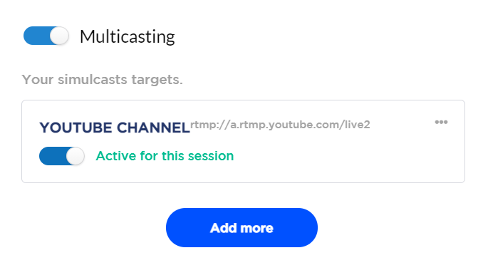 muticast option on Streams.live - Live Commerce Software