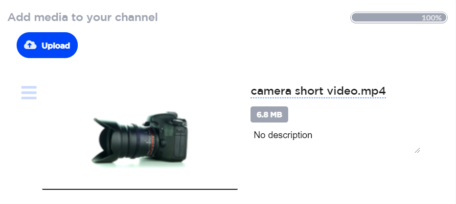 print screen from Streams.live Dashboard - uploading pre-recorded media