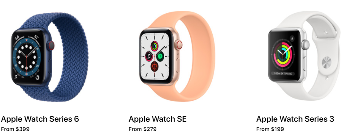 picture showing Apple watches